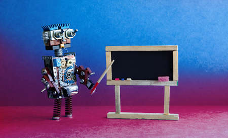 Robot teacher explains modern theory. Classroom interior with empty black chalkboard. Pink violet blue colorful background