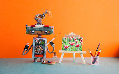 Robot artist wooden easel still life artwork tulip flowers. Advertising poster studio school visual arts drawing. Artist's tools palette watercolor brushes, pencils. orange wall green floor background.