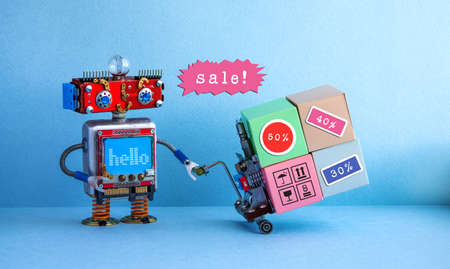 Special sales discount season promotion poster. Funny robot moving shopping cart boxes with discount advertising stickers. Blue background