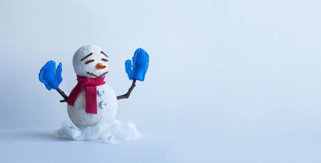 Winter traditional snowman character with scarf mittens. Xmas new year holidays greeting poster template. Copy space.
