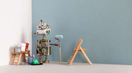 Decorator robot with paint roller and painter tools. Wooden ladder, paint buckets. Copy space.
