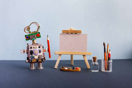 Robot teacher drawing lesson. Creative robotic artist art studio classroom. Wooden easel with empty canvas mockup. Palette brushes pencils and water bottle. Black floor background