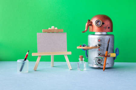 Robotic toy artist begins to create a drawing. White paper mockup, wooden easel and artist's tools palette. Green background.