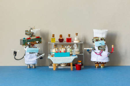 Medic robots holds a tubes with a stick for scraping PCR and blood test. Abstract diagnostic room, medical equipment: table, test tubes blood samples on beige blue background. copy space.