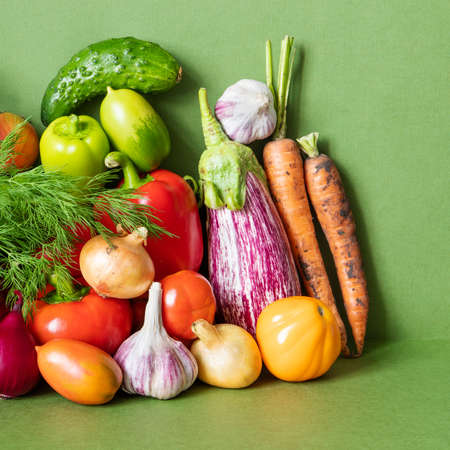 Healthy vegetarian food organic vegetables still life concept.