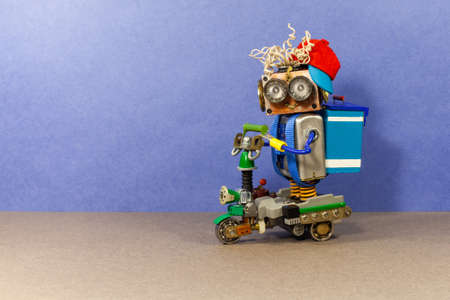 Robotics delivery service concept.