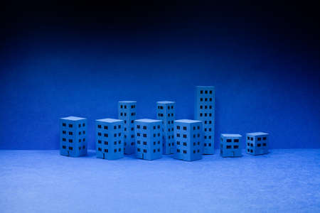 Miniature city with blue houses