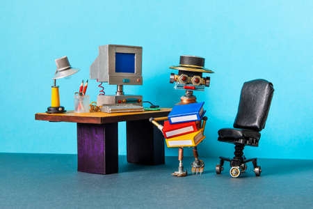 A funny robot office manager holds a folders with documents. Imagens