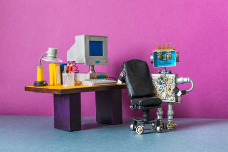 A mechanical robot secretary manager stands next to a stylish leather chair.