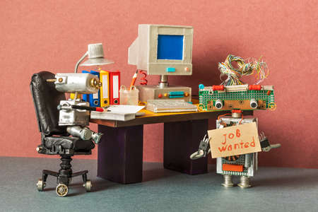 Unemployed robot manager retro style office workplace. Imagens