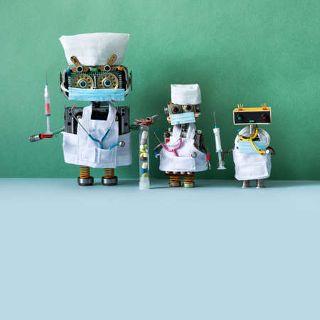 Robots doctors with surgical masks, stethoscopes and syringe blood test, vaccine and pills tube.
