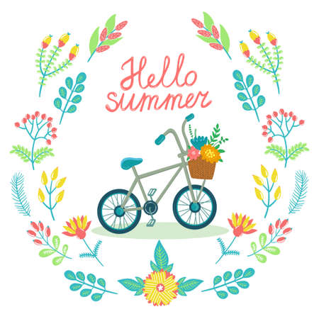 eco flowers basket: floral card with wreath from flowers, berries, leaves, branches, bicycle and text Hello summer. Bright childish background.