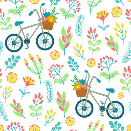 childish: seamless pattern with flowers, berries, leaves, branches, bicycle and text Hello summer. Bright childish texture. Illustration