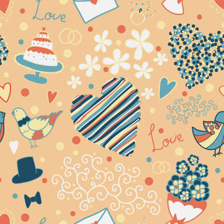 wedlock: seamless pattern with different wedding elements