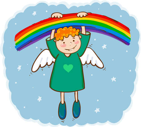 illustration of little smiling angel and rainbow