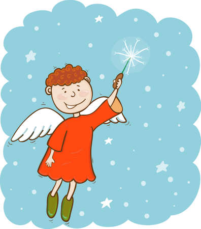 bliss: illustration of angel with magic wand in the sky Illustration