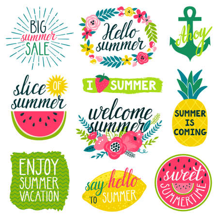 ahoy: Vector set of beautiful labels with hand written phrases about summer, flowers, frames, wreathes, pineapple, slice of water melon, lemon, bright brush strokes. All elements are isolated on white.