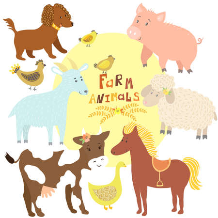 Vector set of cute farm animals: cow, horse, pig, sheep, goat, dog, hen with chickens, goose