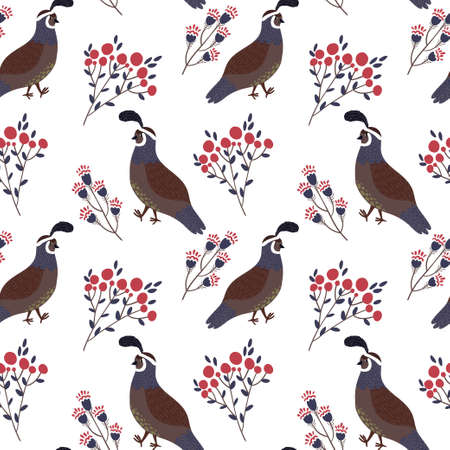 Vector seamless pattern with cute smiling quails and floral elements on the white background