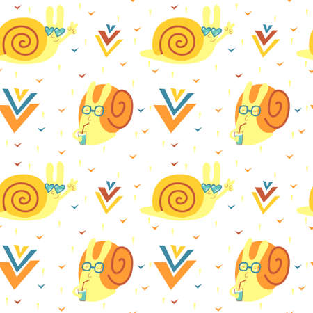 Vector seamless pattern with funny cute snailes and decor elements