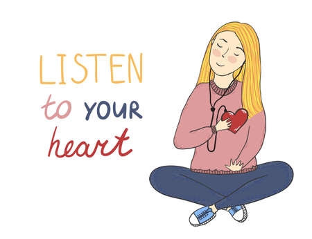 Vector concept card with cute smiling young girl with heart in her hand and Listen to your heart inscription.