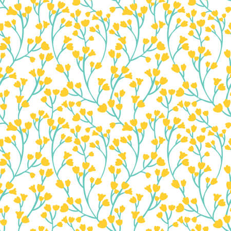 Vector yellow floral seamless pattern.