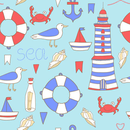 Vector seamless pattern with sea elements.  イラスト・ベクター素材