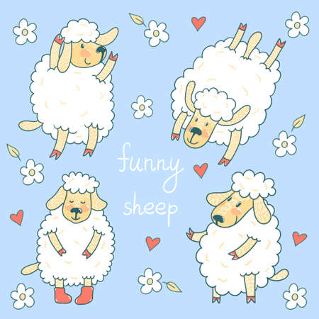 Vector set of four cute smiling sheep.