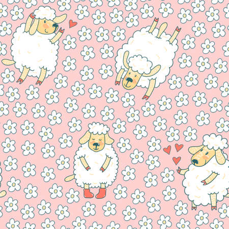 Vector seamless pattern with cute sheep and flowers. Pink hand drawing seamless texture with funny cartoon characters. Illustration