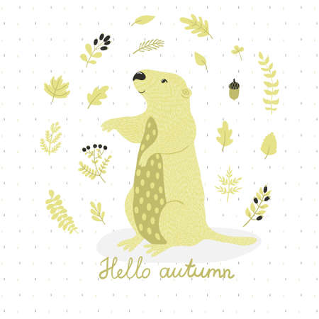 Vector card with cute marmot and autumn floral elements: leaves, branches, berries and acorns. Natural hand drawing background with animals in the forest.