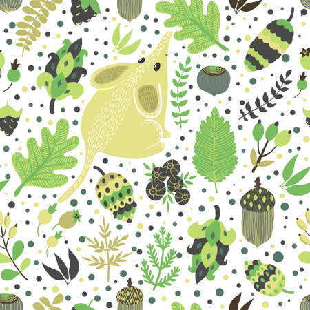 Vector seamless pattern with cute little mouse and floral elements: cones, berries, leaves, branches, nuts and acorns. Hand drawing natural texture with animal.