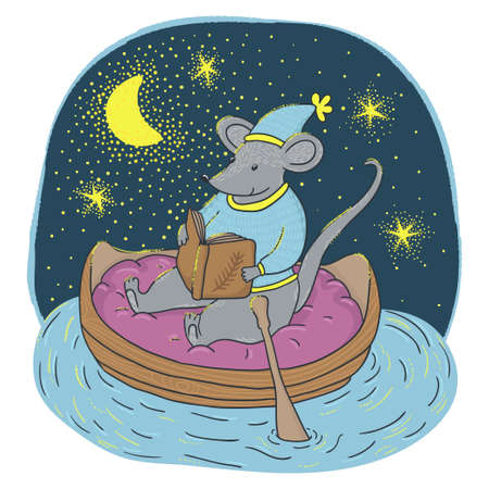 Vector illustration of little smiling mouse with in the boat. Night landscape with river, moon and stars. Beautiful image with cartoon character. Childish background with cute animal.
