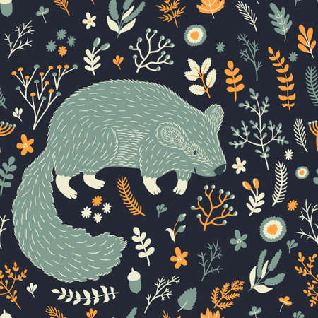 Vector seamless pattern with cute marmot and floral elements: leaves, berries, branches, nuts, acorns and flowers. Natural hand drawing texture with animals in the forest. Retro background.