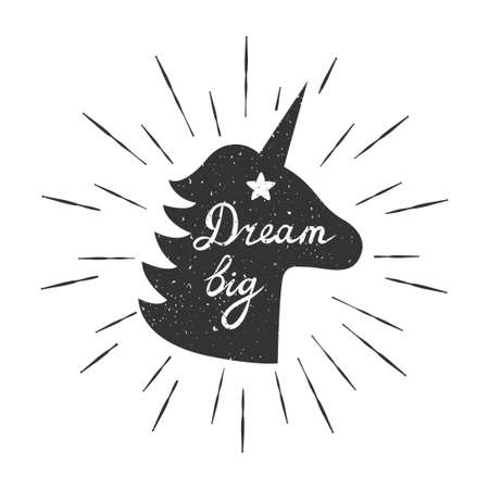Vector motivation card with unicorn silhouette, sunbursts, and text Dream big. Stylish vintage background with inspirational words.