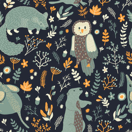 Vector seamless pattern with cute animals and floral elements: leaves, berries, branches, nuts, acorns and flowers. Natural hand drawing texture with marmot, mouse, owl and groundhog in the forest.