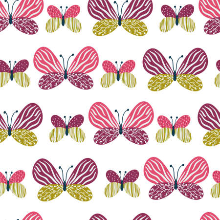 A| Vector seamless pattern with different butterflies on the white background. Endless texture with hand drawing insect.