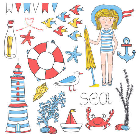 Vector summer set with hand drawing cute girl and sea elements: anchor, bottle with letter, shell, boat, crab, weed, starfishes, school of fish, lighthouse, boat, lifebuoy, flags, seagull.