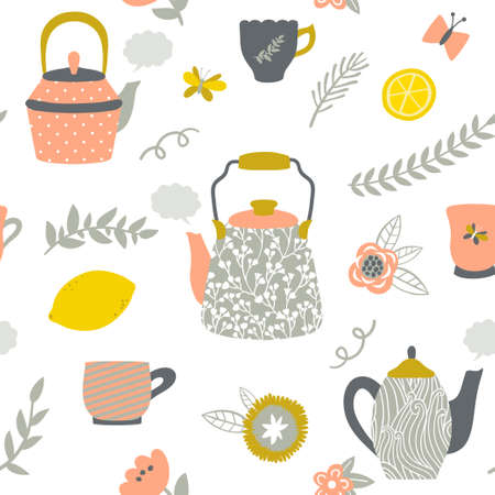 Vector seamless pattern with teapots, cups, lemon, flowers and branches. Hand drawing vintage texture. Retro tea background.