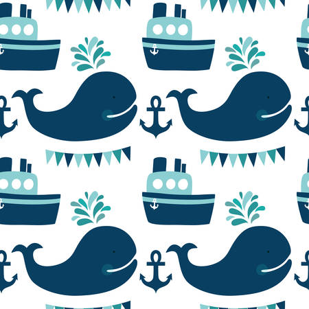 Vector sea seamless pattern with whales, ship, anchors and flags. Cute childish background with cartoon character.