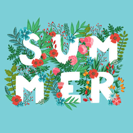 "Vector card with word ""Summer"" made from different floral elements: flowers, berries, leaves, branches . Floral blue background. Bright natural card."