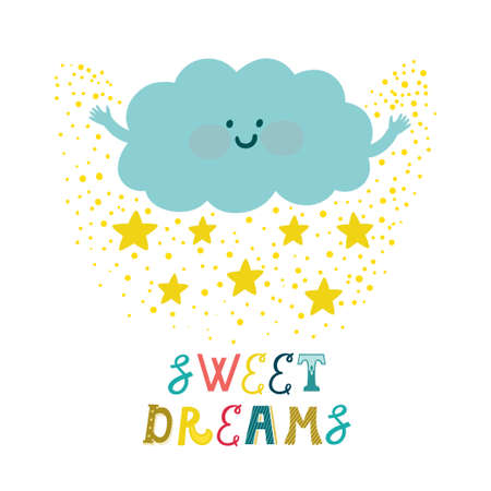 Vector background with cute smiling cloud, stars and beautiful typography