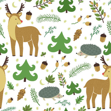 Vector seamless pattern with cute deer, hedgehog, floral elements. Forest hand drawing texture with animals. Childish background with smiling cartoon character.