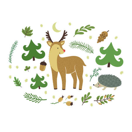 Vector illustration of cute deer, hedgehog, floral elements. Forest hand drawing card with animals. Childish background with smiling cartoon characters.