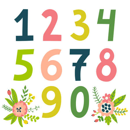 Set of vector colorful numbers. All elements are isolated on white. Иллюстрация