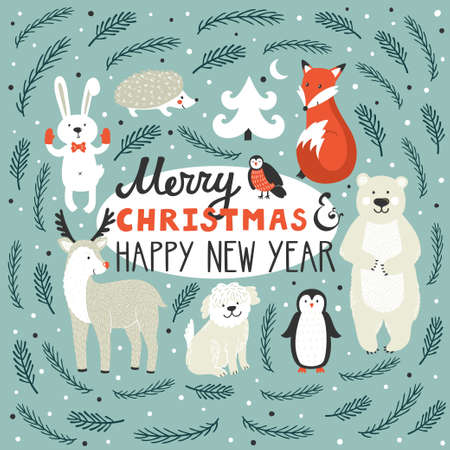 A Vector holiday background with cute animals on  Winter background Çizim
