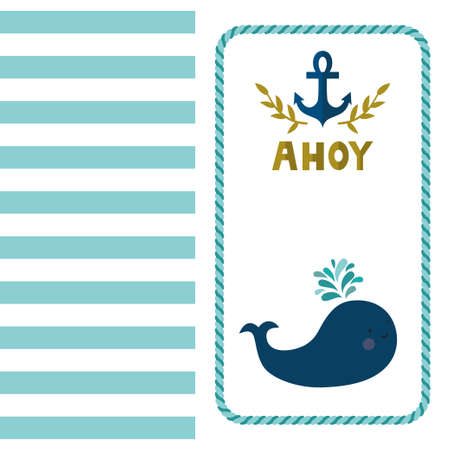 Vector sea background with stripes, whale, anchor and golden text Baby shower. Cute childish background. Invitation template. Ilustração