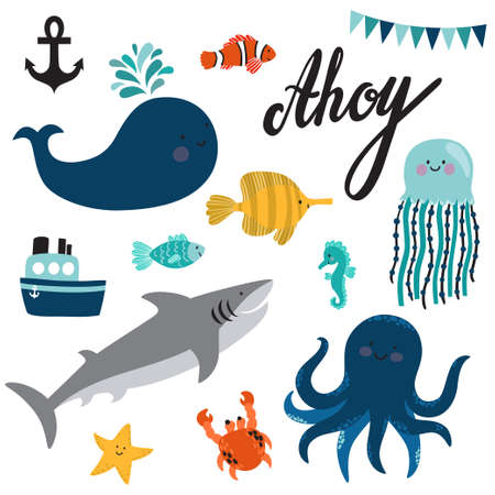 Vector set of sea creatures and elements: whale, octopus, jellyfish, shark, crab, starfish, seahorse, clown anemonefish, zebrasoma, ship, anchor and text Ahoy. Cute hand drawing cartoon characters.