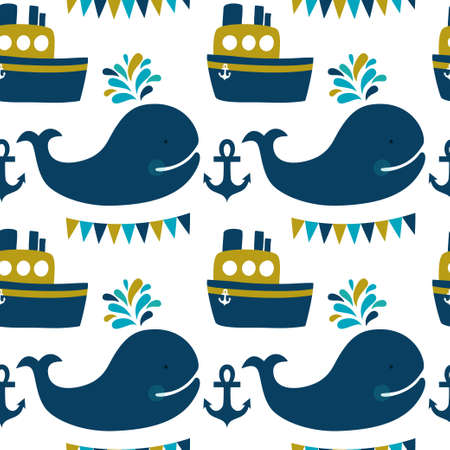 Vector sea seamless pattern with whales, ship, anchors, flags. Cute childish background with cartoon character.