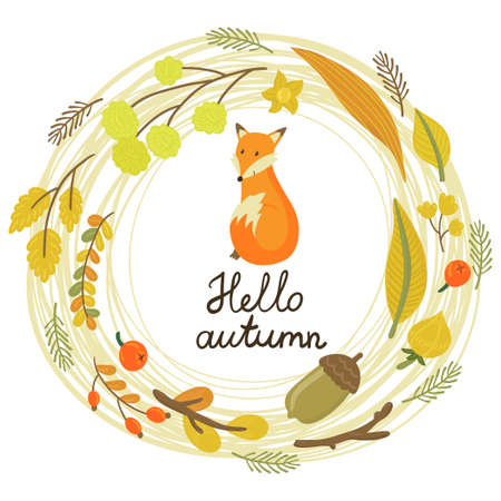 "Vector floral card with wreath from flowers, berries, leaves, branches, cute little fox and text ""Hello autumn""."