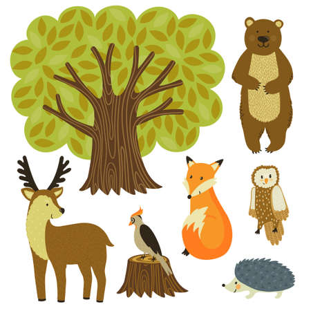 Forest animals are isolated on white. Set of tree and wild animals.